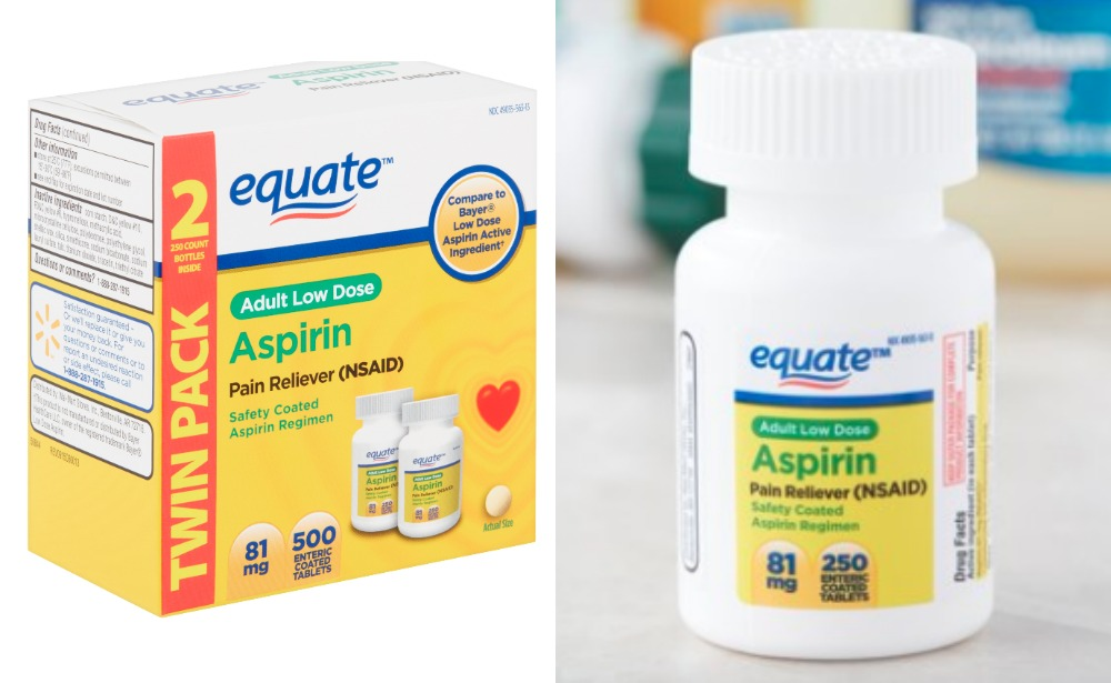 Equate Adult Low Dose Aspirin Enteric Coated Tablets Twin Pack 81 Mg 500 Count Just 5 97 Living Rich With Coupons