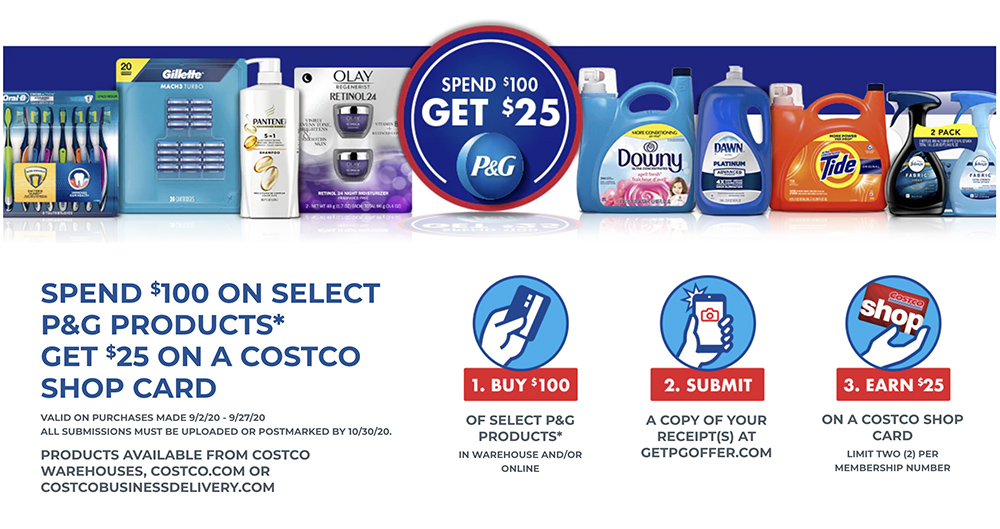 Costco Spend 100 On P G Products And Get 25 Costco Cash Card Living Rich With Coupons