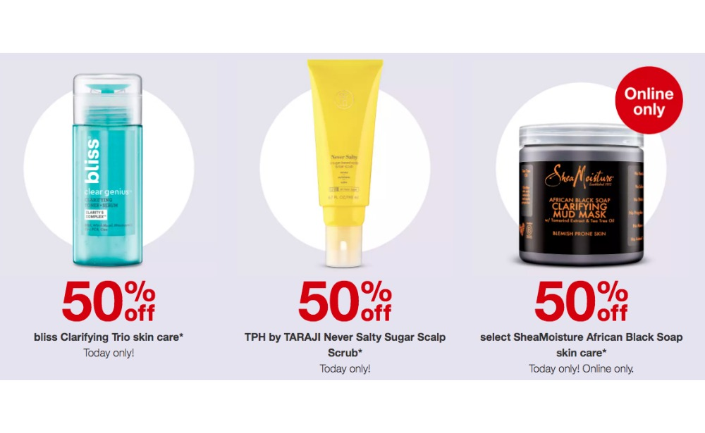 Today Only 50 Off Bliss Skincare Tph Scalp Scrub Or Shea Moisture Skincare 10 Gift Card At Target Living Rich With Coupons
