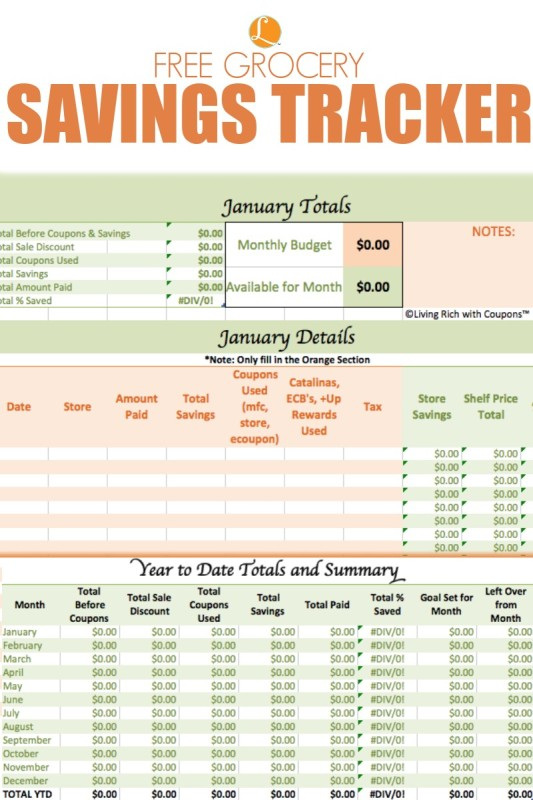 FREE Grocery Savings Tracker