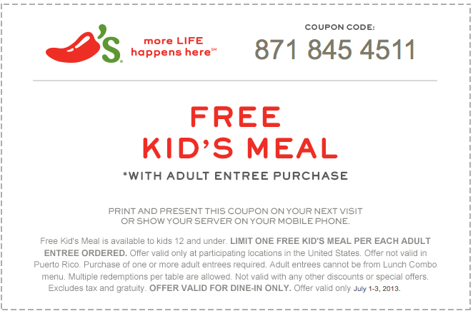 Chilis coupons in store