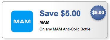 graphic regarding Mam Printable Coupon named MAM Coupon - $5.00 off ANY MAM Anti-Colic Bottle -Dwelling