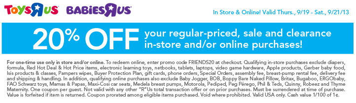 toys r us coupon september 2013 20 off purchase living rich with