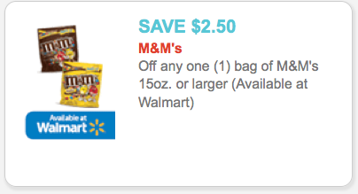 Save money with M&M's Coupons from Krazy Coupon Lady! Select your free M&M's grocery coupons, then scroll down the page to find M&M's deals at.