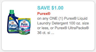 photograph about Purex Coupons Printable identify Purex Coupon - $1.00 off Purex Laundry Detergent Coupon
