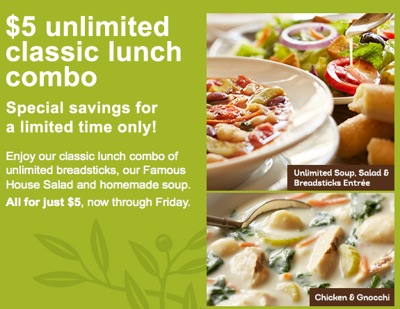 Olive Garden Coupon  Unlimited Classic Lunch Combo Living - Olive garden house salad