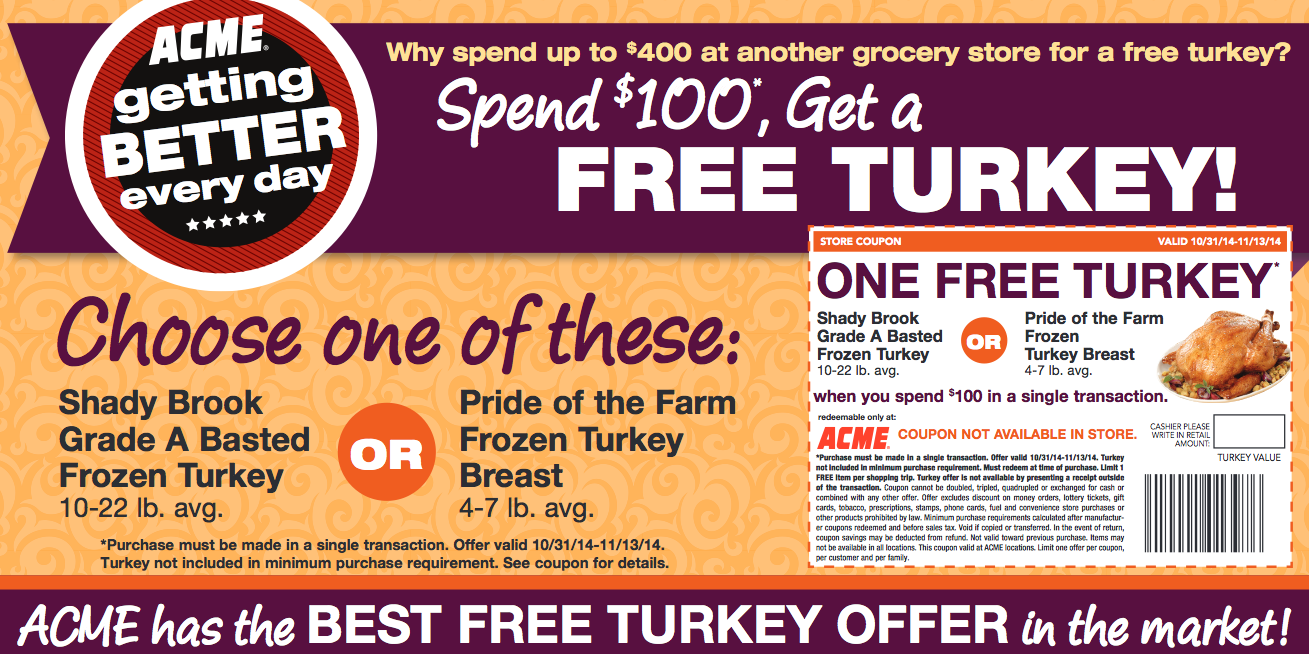 acme free turkey offer earn a free turkey ham more options
