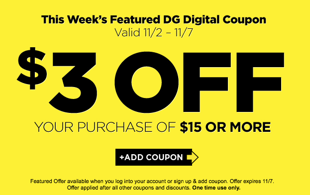 dollar general coupon 3 off 15 purchase living rich with coupons. Black Bedroom Furniture Sets. Home Design Ideas