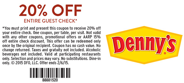 Dennys 20 Off Coupon