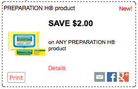$2 off any One Preparation H Medicated Wipes Product and One Other Preparation H Product