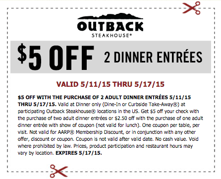 Outback's Offers & Rewards | Email Sign Up From time to time, Outback offers extra coupon discounts or printable coupons. Get the latest Outback coupons and specials for the month.