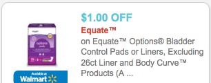 New 1 1 Equate Options Bladder Control Pads Coupon Walmart Deal Living Rich With Coupons