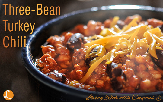 Three-Bean Turkey Chili – can also be made with ground beef or ...