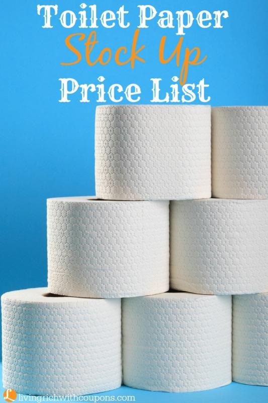 Toilet Paper Stock Up Price List