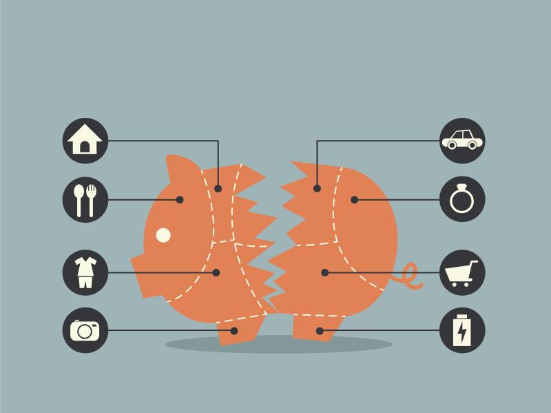 Cuts of Pork Broken Piggy Bank concept for financial