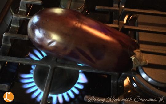 charring eggplant