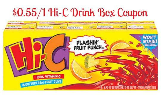 hi-c drink box coupon -  0 55 off hi c drink box