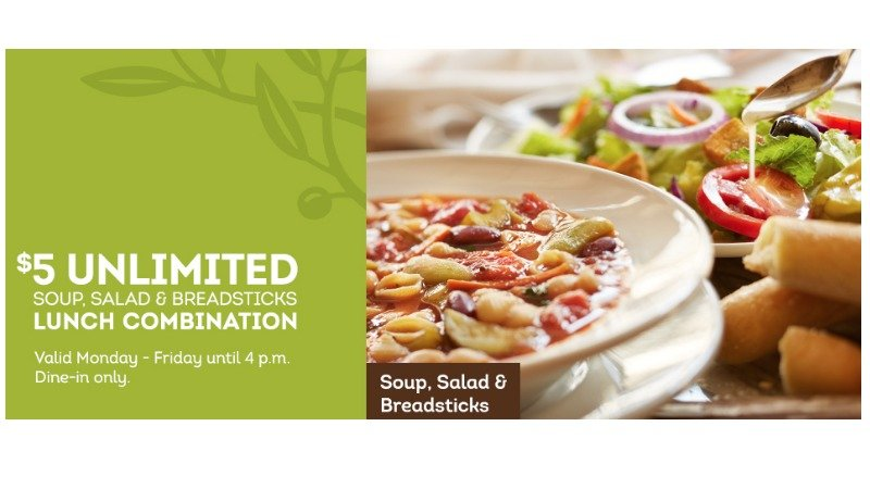 Olive Garden Coupon 5 Unlimited Soup Salad Breadsticks