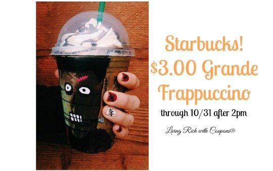 Starbucks Coupon 3 00 Grande Frappuccino After 2pm