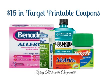 graphic relating to Benadryl Printable Coupon known as Aim Sweepstakes Printable Discount codes - $15 within Discount coupons